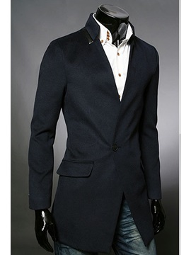 Stand Collar Long Sleeve One Button Overcoat