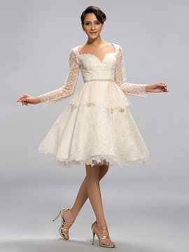 Eye Catching Sweetheart Long Sleeves Lace Knee Length Formal Dress Designed