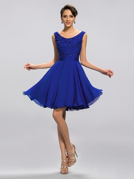 Scoop Sequins Ruffles Short Homecoming Dress