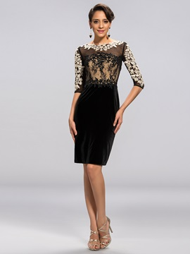 Sheath Scoop Appliques Beading Formal Dress