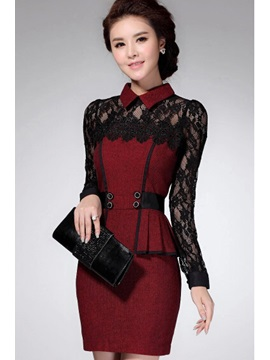 Lace Doll Collar Long Sleeve Dress
