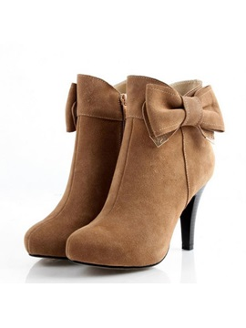 Solid Color Bowtie Stiletto Heel Ankle Boots
