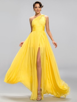 Popular A Line One Shoulder Ruffles Split Front Long Evening Dress Designed