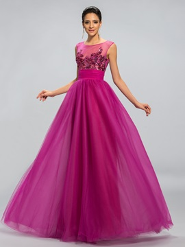 Dazzling Tulle Neckline Sequined Appliques A Line Long Evening Dress Designed