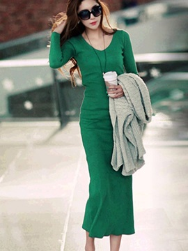 Long V Neck Hiphuggers Knit Dress