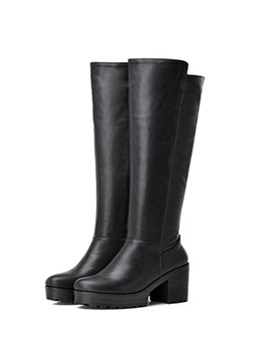 Chunky Heel Side Zipper Over Knee Long Boots