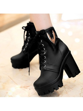 Round Toe Chunky Heel Lace Up Short Boots