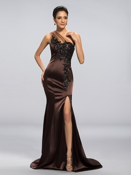 One Shoulder Mermaid Appliques Split Front Long Evening Dress