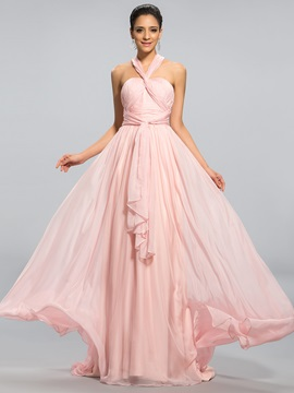Simple Style Halter A Line Pleats Sashes Ribbons Long Prom Dress Designed