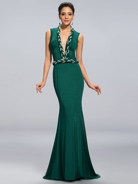 Eye Catching Deep V Neck Mermaid Beaded Sash Long Evening Dress