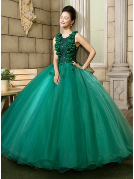 Dramatic Round Neckline Lace Beading Flowers A Line Ball Gown Dress