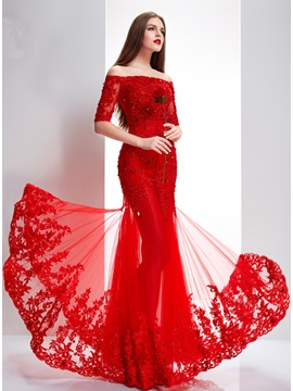 Delicate Off The Shoulder Half Sleeves Appliques Lace Up Long Evening Dress With Jacket Shawl