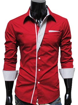 Lapel Color Block Casual Mens Shirt