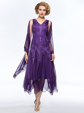 Unique Beaded Embroidered V Neck Tea Length Purple Mother Of The Bride Dress With Jacket Shawl