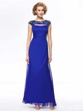 Beaded Jewel Neck Short Sleeve Blue Mother Of The Bride Dress