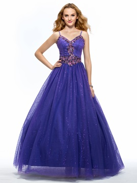 A Line Spaghetti Straps Appliques Sequins Floor Length Quinceanera Dress
