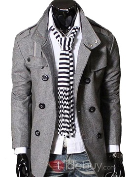 Stand Collar Double Breasted Long Sleeve Overcoat