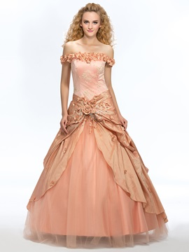 Off The Shoulder Lace Flowers Beading Ball Gown Dress