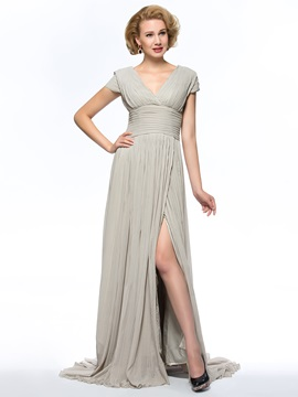 Dazzling V Neck Split Front Sweep Train Chiffon Mother Of The Bride Dress With Sleeves Long