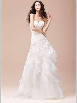 Strapless Sweetheart Ruffles Organza A Line White Wedding Dress