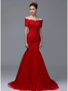 Elegant Off The Shoulder Trumpet Short Sleeves Appliques Sequins Long Evening Dress