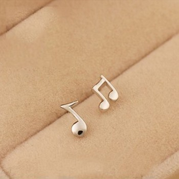 Cute Musical Note 925 Sterling Silver Women Ear Studs