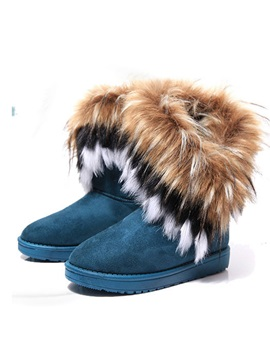 Faux Fur Round Toe Womens Flat Snow Boots