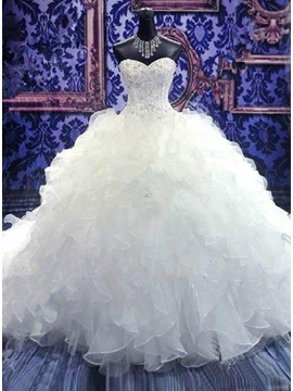 Beaded Sweetheart Tiered Organza Ruffles Wedding Dress