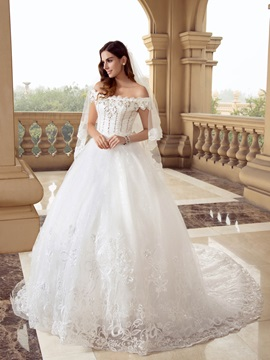 Eye Catching Scalloped Off The Shoulder Beaded Ball Gown White Lace Wedding Dress