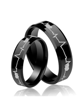 Heartbeat Unisex Black Tungsten Lovers Bands Price For A Pair
