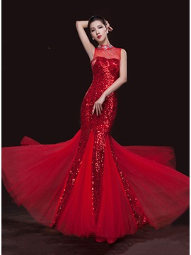 Shining High Neckline Mermaid Beading Sequins Long Evening Dress