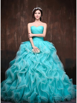 Dramatic Sweetheart Ball Gown Ruched Tiered Lace Up Long Quinceanera Dress