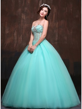 Unique Crystal Sweetheart Beading Sequins Lace Up Long Quinceanera Dress