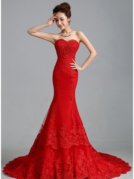 Charming Beaded Appliques Sweetheart Red Mermaid Wedding Dress