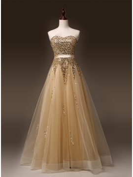 Luxurious Sweetheart A Line Beading Lace Up Sweep Train Long Prom Dress