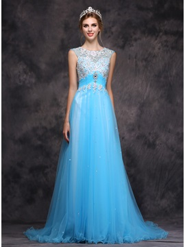 Unique Scoop A Line Appliques Crystal Sweep Train Long Evening Dress