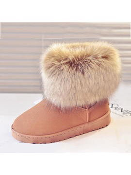 Fake Furry Rubber Sole Flat Heel Womens Snow Boots
