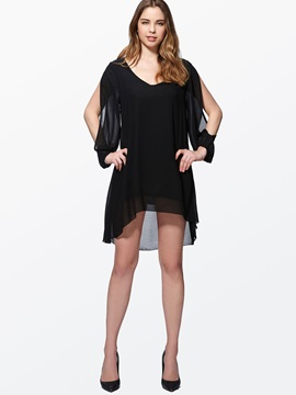 V Neck Asym Hollow Womens Short Day Dress