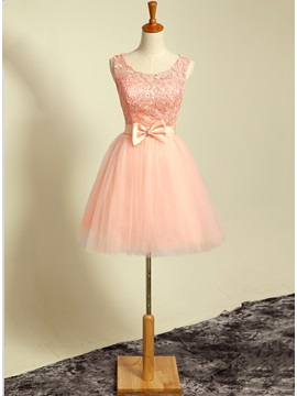 Loveable Scoop Neckline A Line Bowknot Lace Short Homecoming Dress