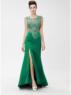Elegant Tulle Neckline Trumpet Beading Appliques Split Front Long Evening Dress