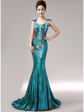 Luxurious Mermaid Straps Sequins Crystal Lace Up Long Evening Dress