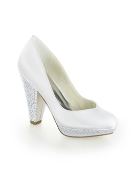 Shinning Beaded Chunky Heel White Wedding Shoes