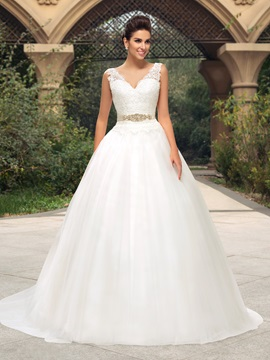 Lace V Neck Button Zip Up A Line Court Train Wedding Dress