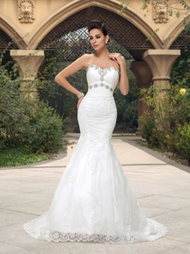 Rhinestone Sweetheart Mermaid Lace Court Train Wedding Dress