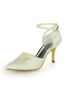 Pointed Toe Ankle Strap Stiletto Heel Bridal Shoes