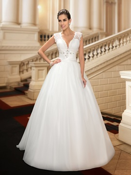 Dazzling V Neck Button Sheer Back Floor Length A Line Wedding Dress