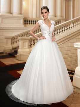 V Neck Beading Lace Wedding Dress