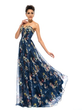 Stunning A Line Strapless Pleats Beading Pattern Long Evening Dress