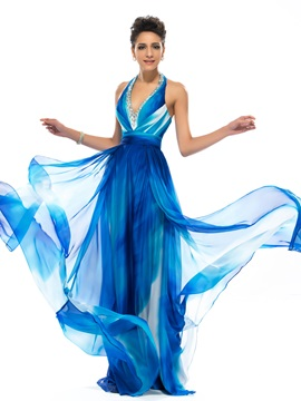 A Line Halter V Neck Beading Prom Dress Designed
