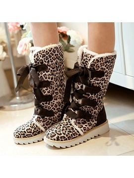 Leopard Printed Suede Lace Up Snow Boots